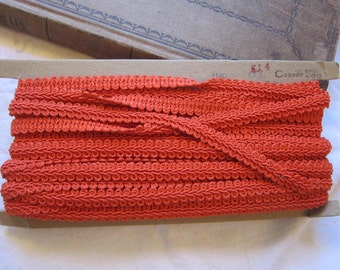 19 yards vintage upholstery braid - CONSO - pumpkin orange - 1/2 inch wide, color 722