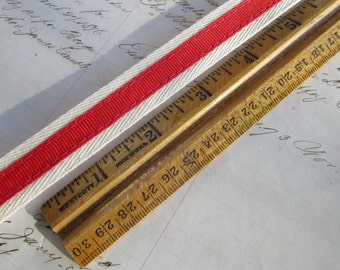 3 yards cotton twill tape with grosgrain ribbon - twill tape trim - red grosgrain ribbon - cream and red