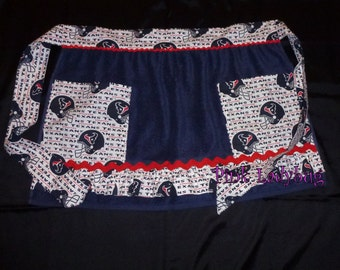 Terry Cloth Apron Embellished with Texans Fabric is Ready to Ship