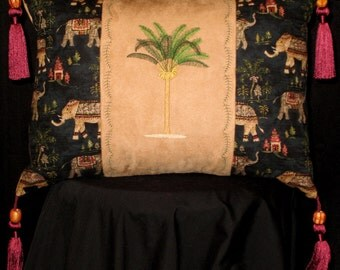 New Embroidered Palm Tree with Elephants and Tassels Accent Pillow New 12 x 16 Insert -- Item 131