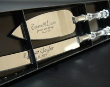 Engraved cake serving set  for Weddings and Anniversary knife and server with faux crystal handles personalized for the bride and the groom
