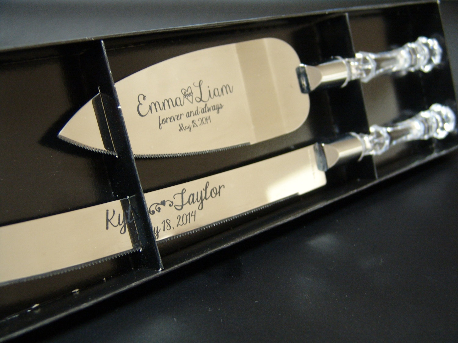engraved cake serving set for weddings and anniversary knife