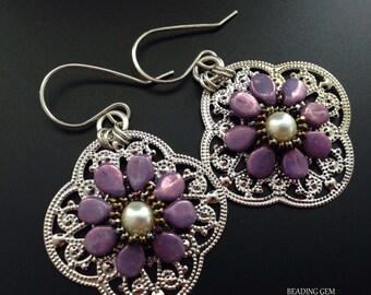 Beaded Purple Flowers on Filigree Earrings