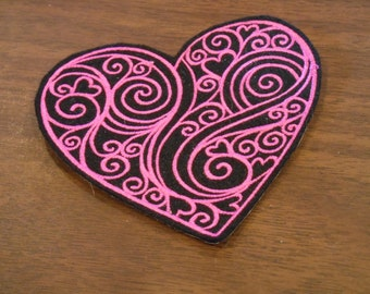 embroidered swirls and hearts iron on patch ready to ship!