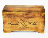 Medium Rustic Personalized Card Box for Wedding Cards with card slot