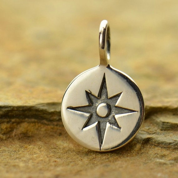 small compass sterling silver charm by carolinabeadshop
