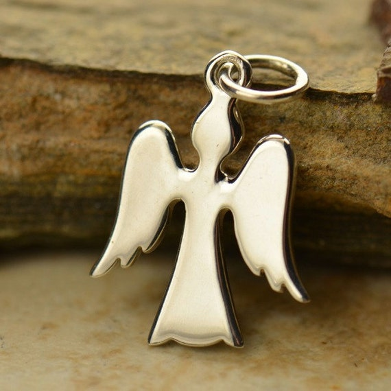 Sterling Silver Angel Charm - C911, Spiritual, Blessed, Guardian Angel