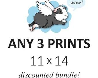 DISCOUNTED SET - you choose any three 11 x 14 prints - cute guinea pig art custom set of 3