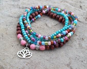Pink Lotus - Beaded Stretch Bracelets - boho hippie stack bracelets, silver lotus charm