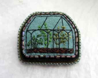 Embroidered Terrarium Brooch