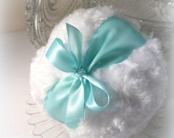 AQUA Powder Puff  - satin robin egg blue - turquoise andwhite pouf,  gift boxed - by Bonny Bubbles
