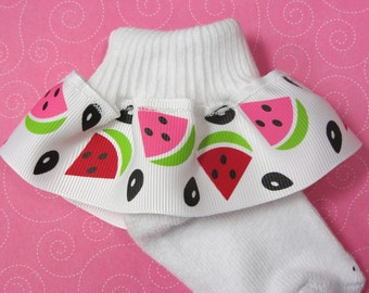 Watermelon Ribbon Ruffle Socks
