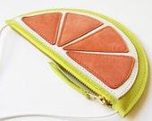 Fruit wallet, Mini Grapefruit purse, Kids wallet, kids pouch, Handmade, Leather Bag, Leather Purse, fruit bag, citrus