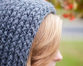 Chainmail Gray Soft Thick and Warm Knitted Pixie Hood (Ready to Ship)