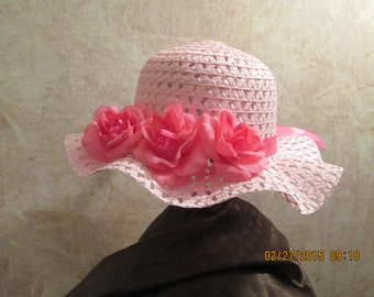 Girls Pink Easter Hat - Gorgeous Pink Rose Tea Hat - Girls Tea Party Hat - Girl's  Derby Hat