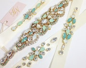 Bridesmaid Belts- Bridesmaid Sash- Mint Bridal Belts- Swarovski Crystal Sash