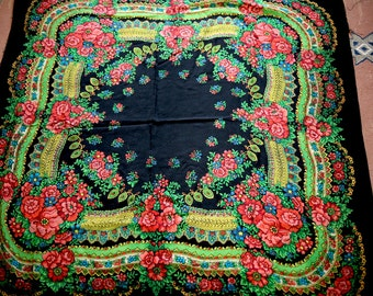 "Russian Shawl Scarf Red Roses on Black Wool 53"" inches From Russia Soviet Union USSR"