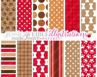 Dog Days Cute Digital Papers Backgrounds for Invitations, Card Design, Scrapbooking, and Web Design