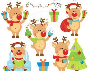 Reindeer Games Cute Digital Clipart - Commercial Use OK - Christmas Reindeer Clipart, Christmas Graphics, Reindeer Clip Art