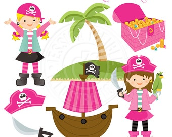 Pirate Girls Cute Digital Clipart - Commercial Use OK - Pirate Girl Clipart - Pink Pirate Clipart, Pirate Graphics