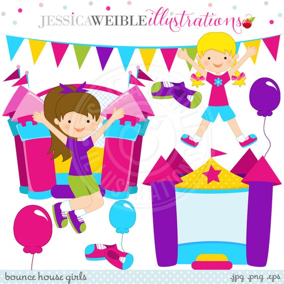 Bounce House Girls Cute Digital Clipart Commercial Use OK