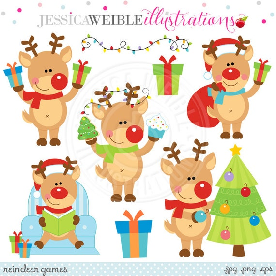 Reindeer Games Cute Digital Clipart - Commercial Use OK - Christmas Reindeer Clipart, Christmas Graphics, Reindeer Clip Art
