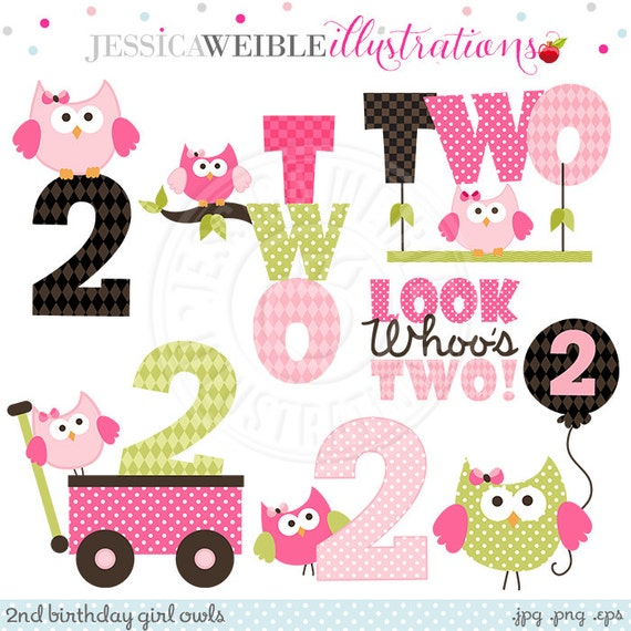 Second Birthday Girl Owls Cute Digital Clipart Commercial