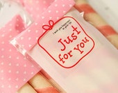 36 Just For You Red Line Transparent Stickers (1.6 x 1.6in)