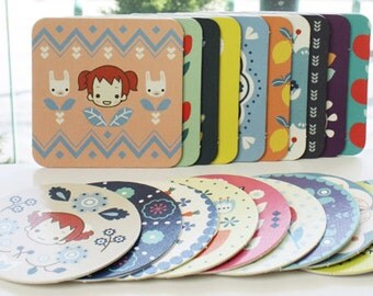 20 Hard Paper Coasters Sets / Circle & Square - Scandinavia Anne (3.9in)