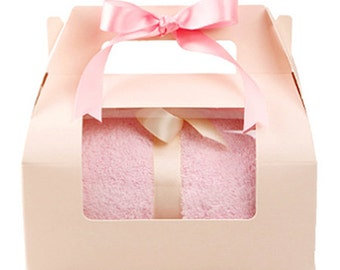 Pink Handle Window Gift Box - M size (6.7 x 4.3 x 4.3in)