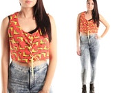 ROLLER RINK 70s Red Yellow Polka Dot Boot Print Novelty Kitsch Boho Hippie Retro Folk Prairie Gypsy Lace Up Corset Tank Top Vest Shirt Med L