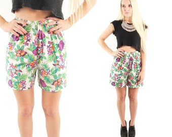 PRO SPIRIT 80s 90s White Green Tropical Cotton Jersey Elastic Waist High Rise Shorts Hawaii Floral Palm Leaf Hip Club Kid Indie Floral Small