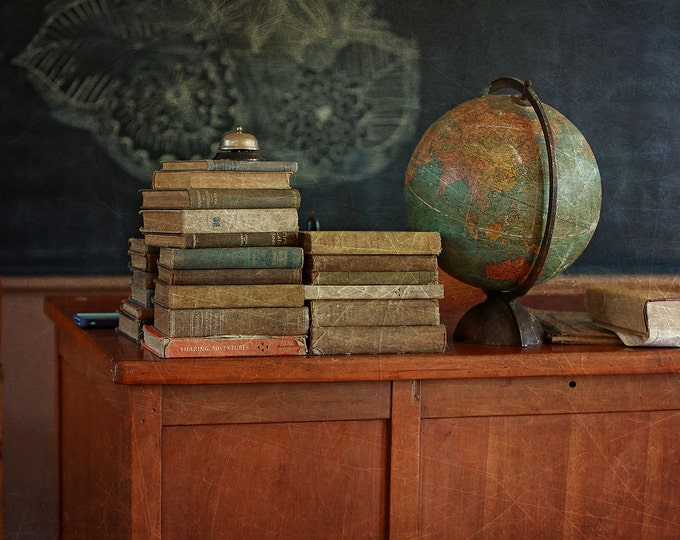 Old building photography, school house, vintage books, abandoned spaces, midwest, wall decor, one room school, country living, antique books