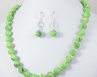 18 Inch Green Designer Bead Necklace Set #16372 - On Sale!