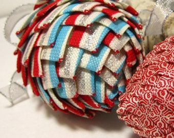 Burlap look red,silver and white Striped ribbon ornament