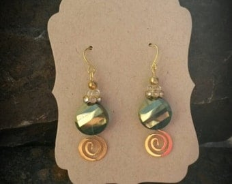 Gold Swirl Green Crystal Dangle Earrings, Green Crystal Gold Swirl Dangle Earrings