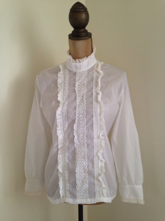 White Ruffle Victorian Blouse 77