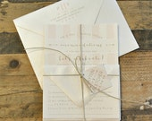 Kristine Wedding Invitation Suite with Stripes, Bow and Arrow, Twine Tie and Monogram Tag - Gold, Ivory and Blush Pink (customizable)