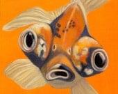 Orange Goldfish Print  with Mat for 12 x 16 Frame - Koi Print - Whimsical Goldfish Art - 10% Benefits Animal Charities