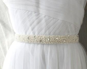 Beaded Bridal Sash, Crystal Sash, Bridal Belt, Bridal Sash, Wedding Dress Sash