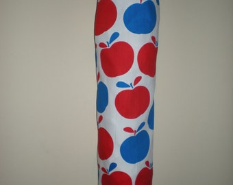 Plastic bag/Storage bag holder blue and red retro apple eco friendly 100% cotton Great organizer for the pantry