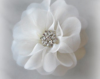 Silk Organza Hair Flower, Bridal Fascinator with Rhinestones, Ivory, White, Off White Champagne, Blush - DREAM