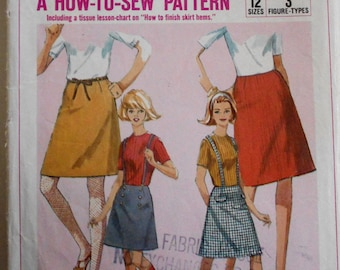 Simplicity 6594 Misses Skirt sewing pattern sz 14 simple to sew Suspenders.