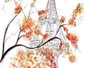 Watercolour illustration Titled Paris in Fall