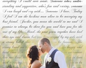 Wedding Vows Framed On Canvas - Wall Art with Your Vows Song Or Verse 12x20