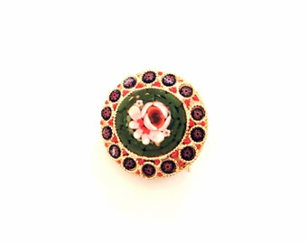 vintage Italian micro mosaic brooch green and red glass mosaic flower round shaped