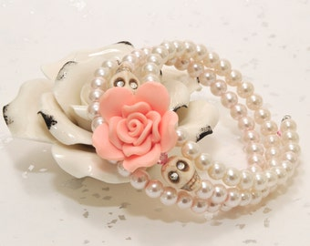 Wedding Prom Day of the Dead 3.5 Loop Memory Wire Bracelet - Glass Pearls w/Peach Flower