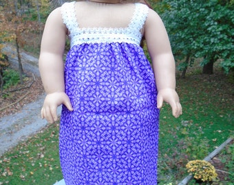 18 Inch Doll Clothes, purple flower nightgown for 18 inch doll