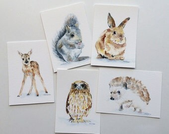 Watercolor Animals ACEO Woodland Animals - Set of 5