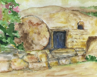 Empty Tomb Watercolor Painting - 11 x 14 - Giclee Print - Easter Print Fine Art